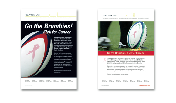 Clayton Utz - Rugby Advertisements, Go the Brumbies! Kick For Cancer
